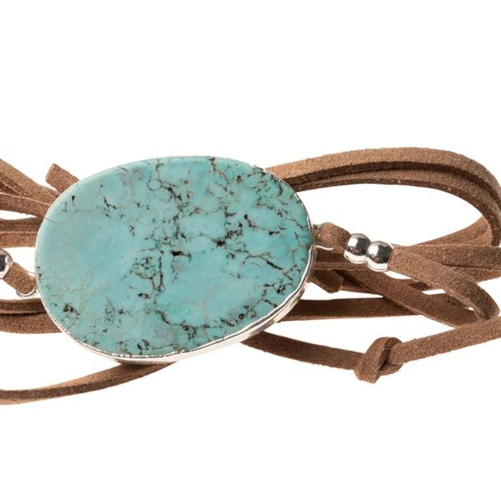 Scout® Suede/Stone Wrap - Turquoise/Silver/Stone of the Sky - GRACEiousliving.com