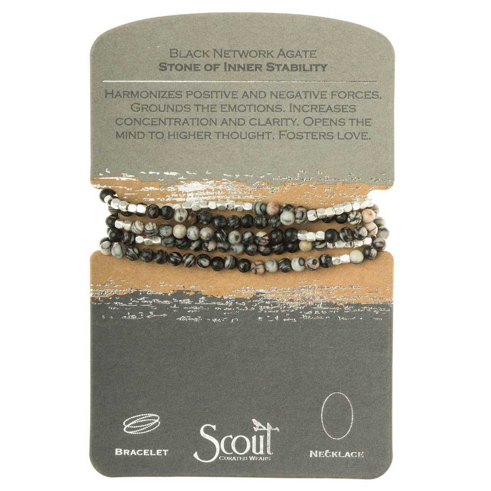 Scout® Black Network Agate - Stone of Inner Stability Wrap Bracelet or Necklace - GRACEiousliving.com