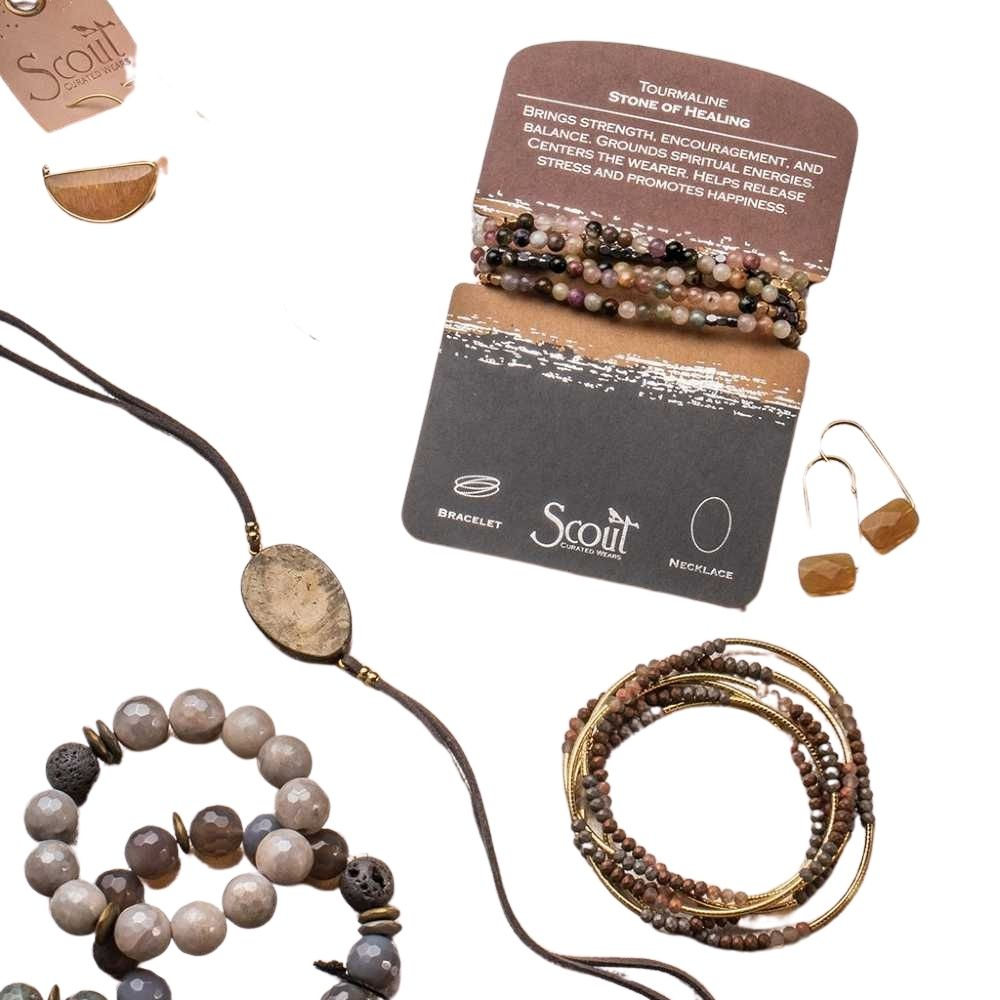 Scout® Suede/Stone Wrap - Pyrite/Gold/Stone of Positive Energy - GRACEiousliving.com