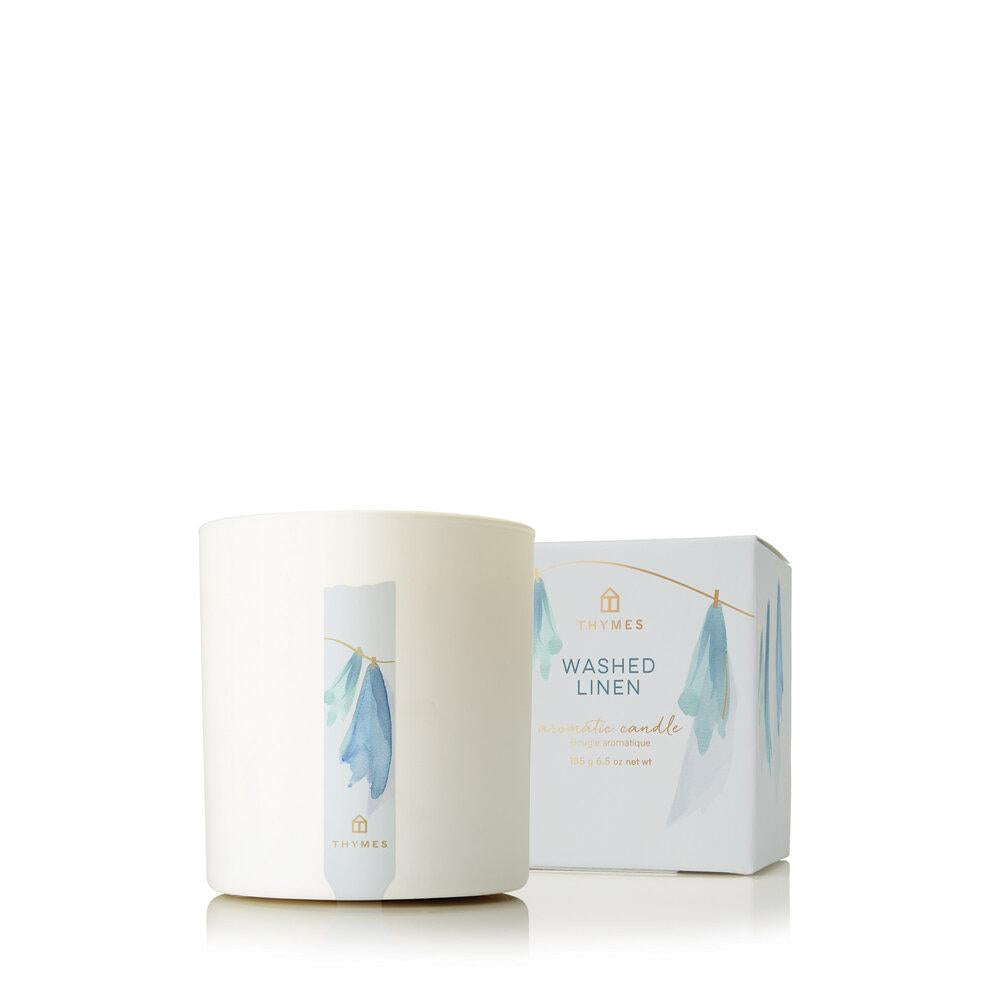 Thymes Washed Linen Poured Candle - GRACEiousliving.com