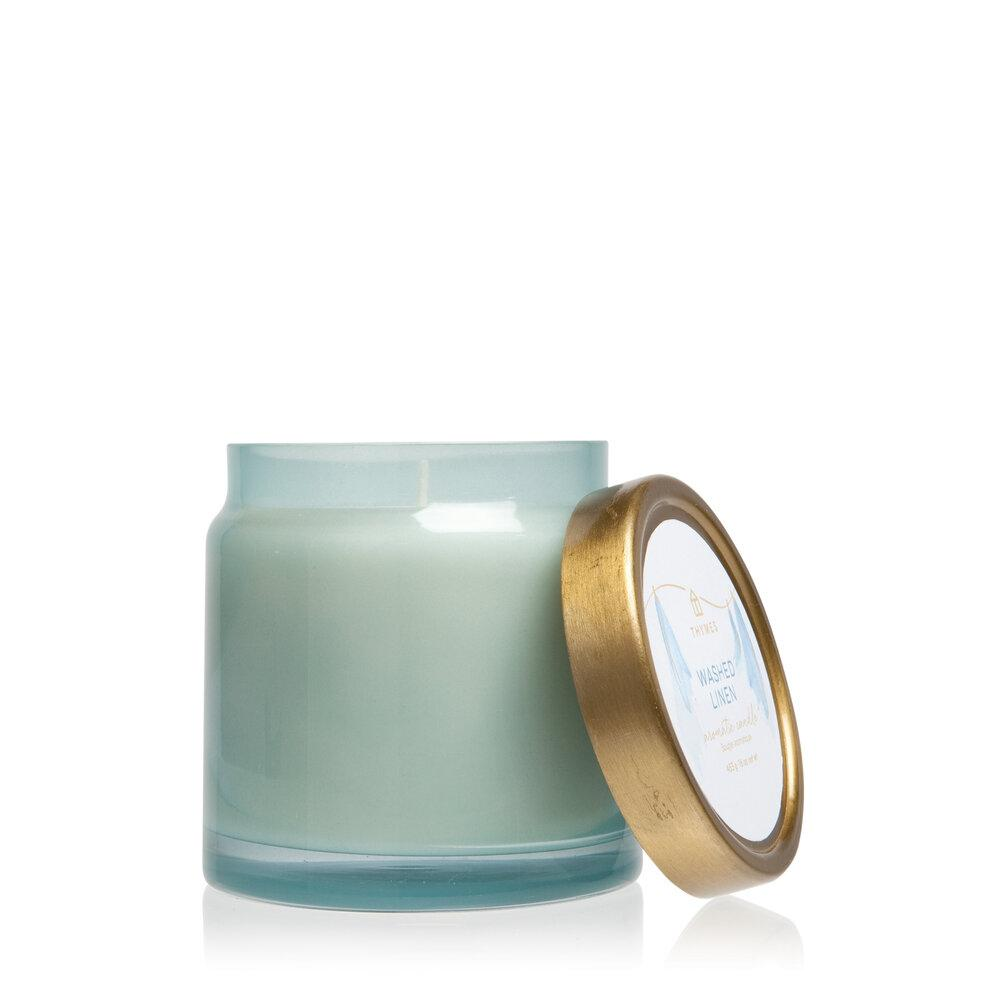 Thymes Washed Linen Glass Jar Candle - GRACEiousliving.com