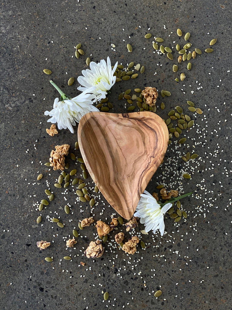 "Scents and Feel - Olive Wood Heart Shape Dish  6"" - GRACEiousliving.com"