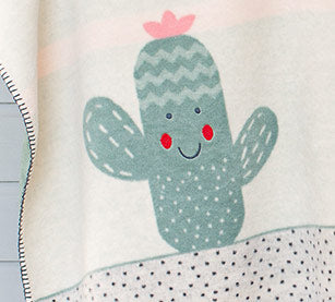 Embroidered Cactus Green Panda Blanket