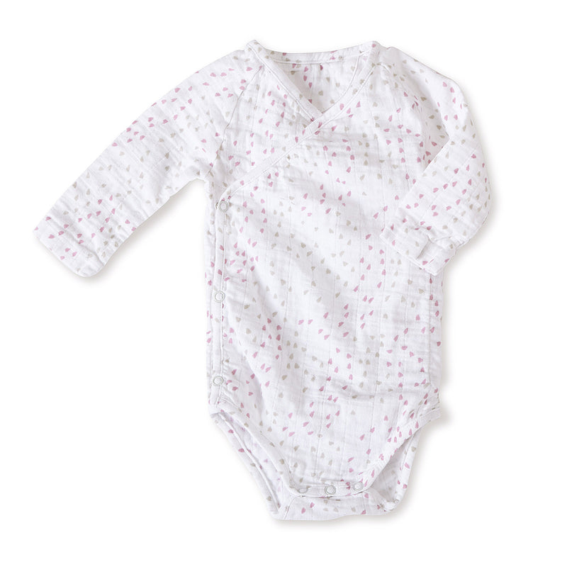 Lovely Mini Hearts - Long Sleeve Kimono Onesie
