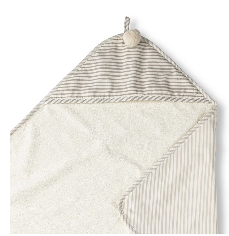Stripes Away Pebble Grey - Hooded Towel