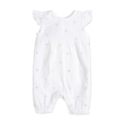 Metallic Silver Water Dot – Flutter Sleeve Romper