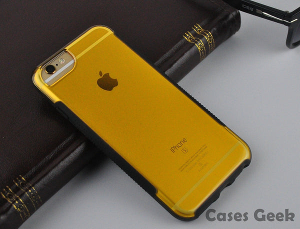 iPhone VAKU® Transparent: Yellow Hard Case with Rubber Dotted Grip Cover