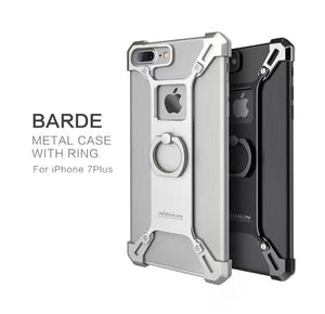 Apple iPhone Silver Nillkin Barde Shockproof Metal Bumper Build-in-Ring Grip Kickstand Case | Cover