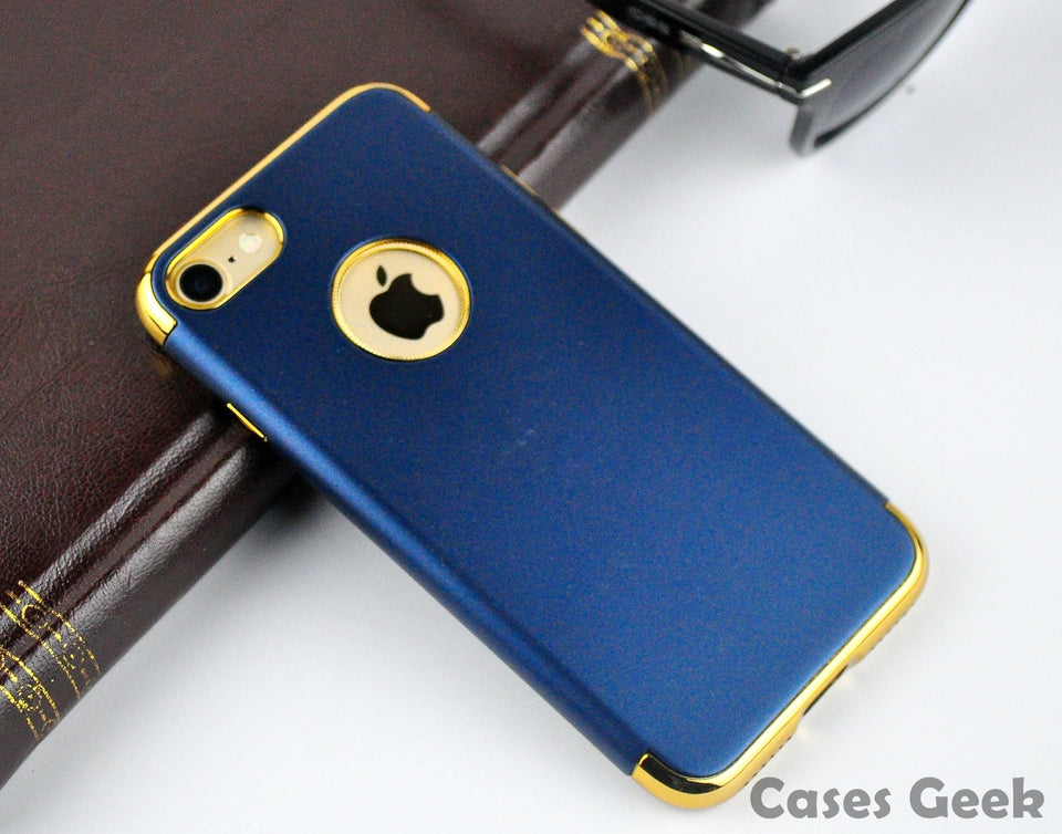 Apple iPhone Navy Blue Fashion Series with Gold Plating Case | Cover