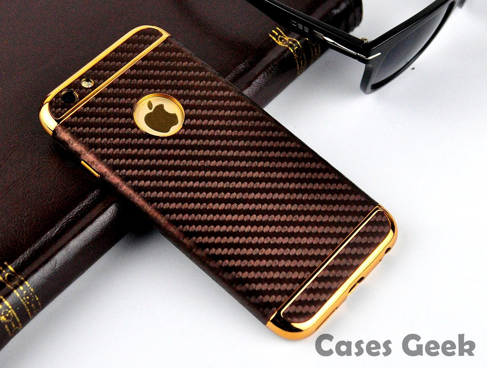 Apple iPhone Anyland Carbon Fibre Case with Gold Chrome Leather +TPU Cover