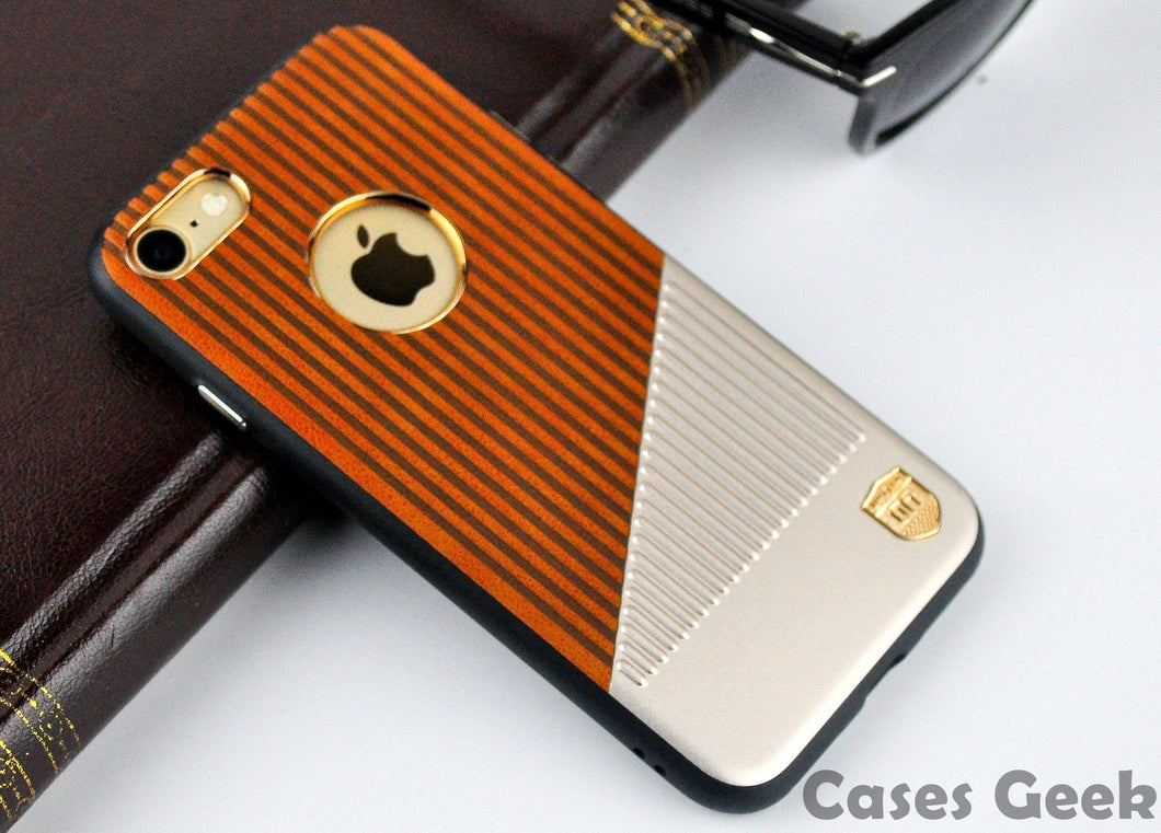 Apple iPhone Brown UYITLO Lines Embossing Premium Case | Cover