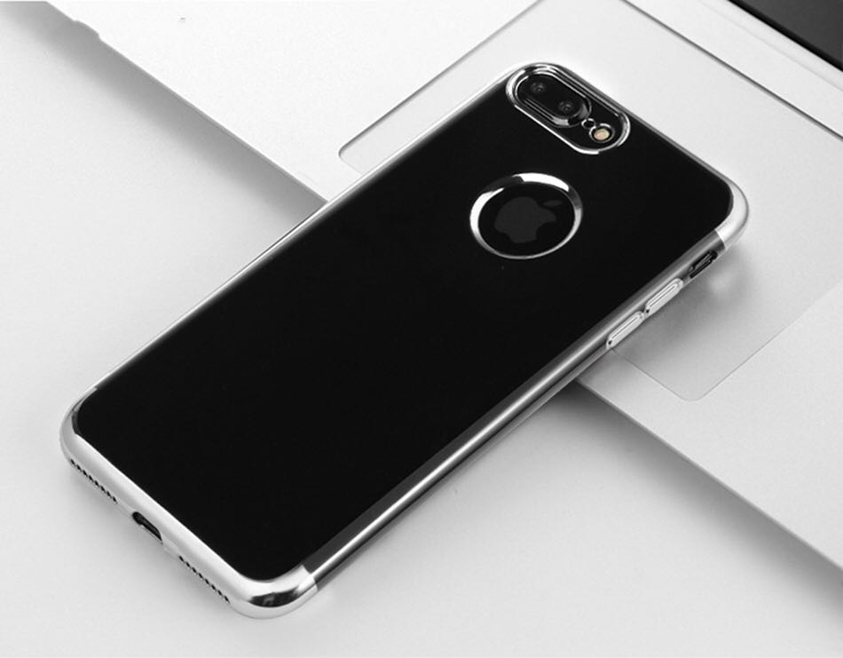 Apple iPhone Jet Black Electroplated Silver Border Soft Silicon Case | Cover