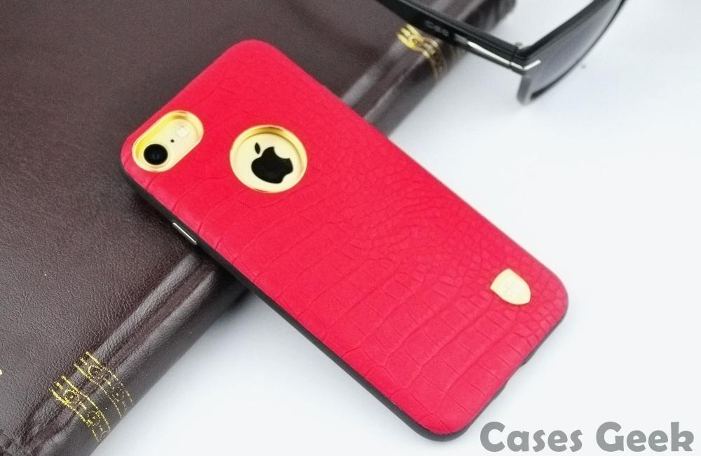 Apple iPhone MeePhone Red Crocodile Leather Metal Sheet Coated PC + TPU Case | Cover