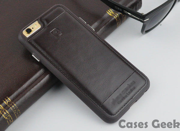 iPhone Pierre Cardin Brown Genuine Leather Full Covered Edges Case | Cover