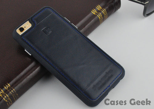 Apple iPhone Pierre Cardin Navy Blue Genuine Leather Full Covered Edges Case | Cover