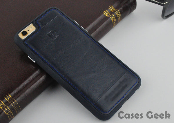 iPhone Pierre Cardin Navy Blue Genuine Leather Full Covered Edges Case | Cover
