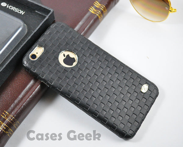 iPhone 6/6s Black Original Vorson® Chex Pattern Leather Cas