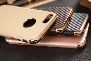 Apple iPhone Anyland Carbon Fiber with Gold Chrome Leather + TPU Case | Cover