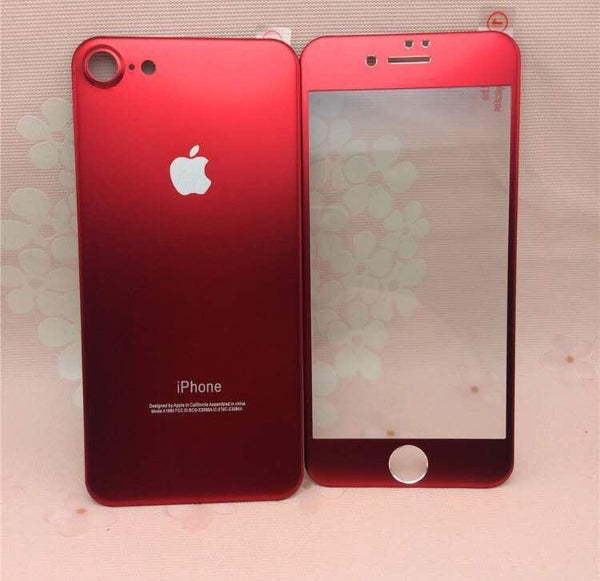 iPhone Red Titanium Alloy Full Curved Front & Back Glass Protection 3