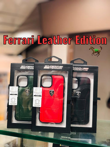 Ferrari ® iPhone X to 12 Pro Max Genuine Leather Crafted Case