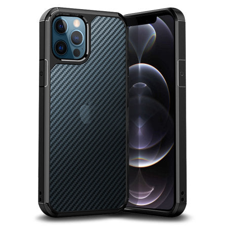 Defence Shield Carbon iPhone 12 Series Bumper Case - Black