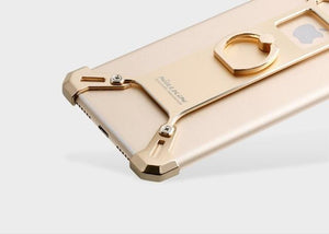 Apple iPhone Gold Nillkin Barde Shockproof Metal Bumper Build-in-Ring Grip Kickstand Case | Cover