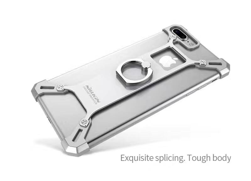 iPhone Silver Nillkin Barde Shockproof Metal Bumper Build-in-Ring Grip Kickstand Case | Cover