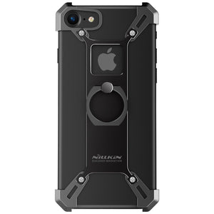 Apple iPhone Black Nillkin Barde Shockproof Metal Bumper Build-in-Ring Grip Kickstand Case | Cover