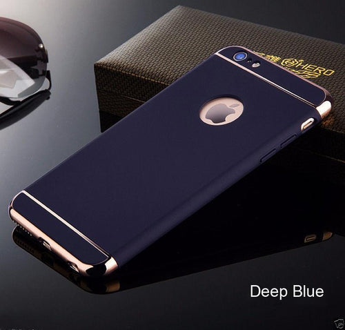 Apple iPhone Deep Blue Matte Finish 3in1 Chrome Plating Case | Cover