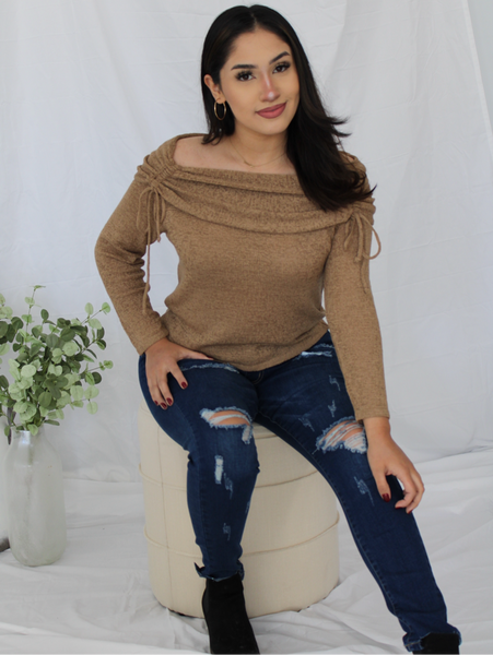 Mocha Ruched Sweater
