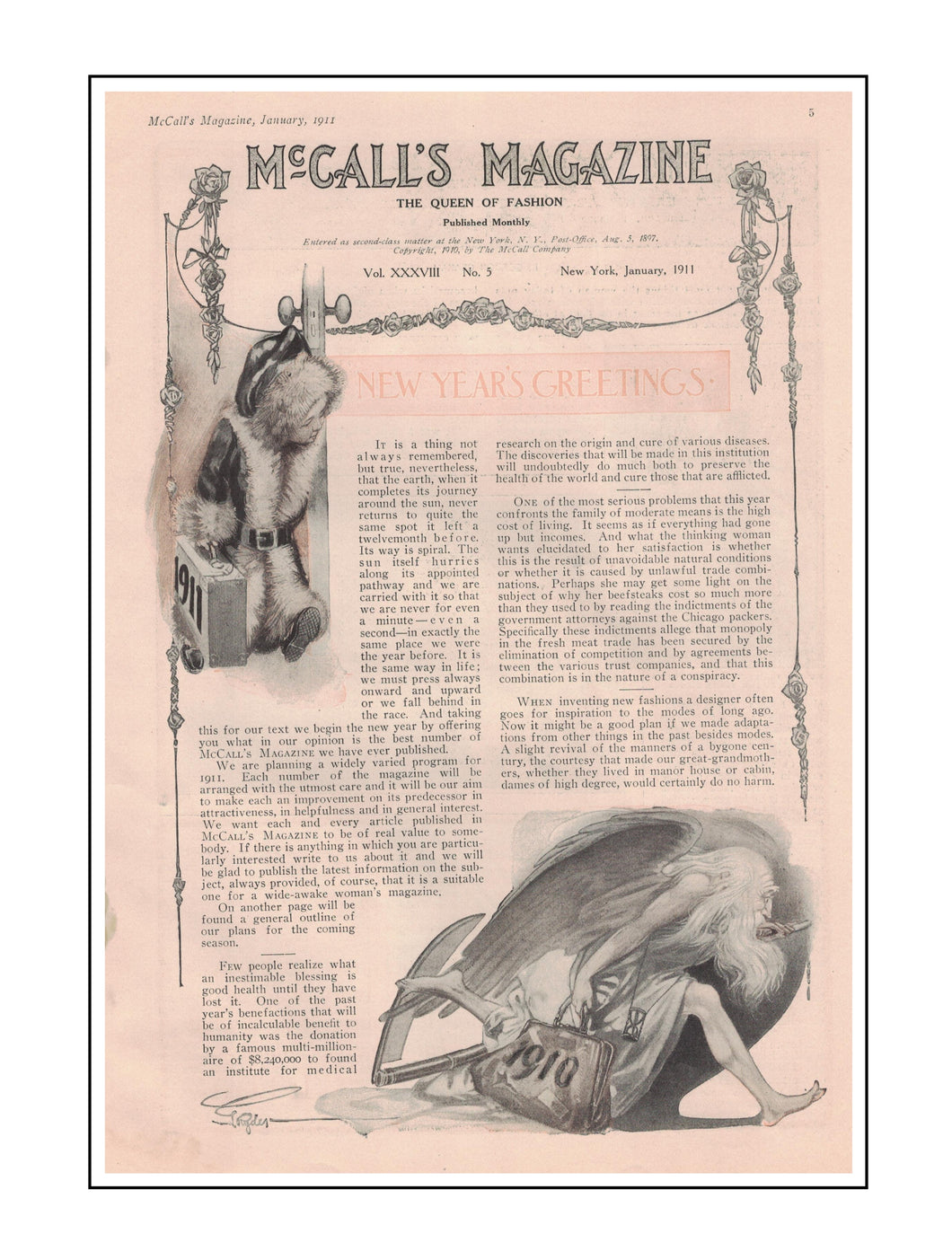 1911 McCall's Magazine New Year's Greeting Article