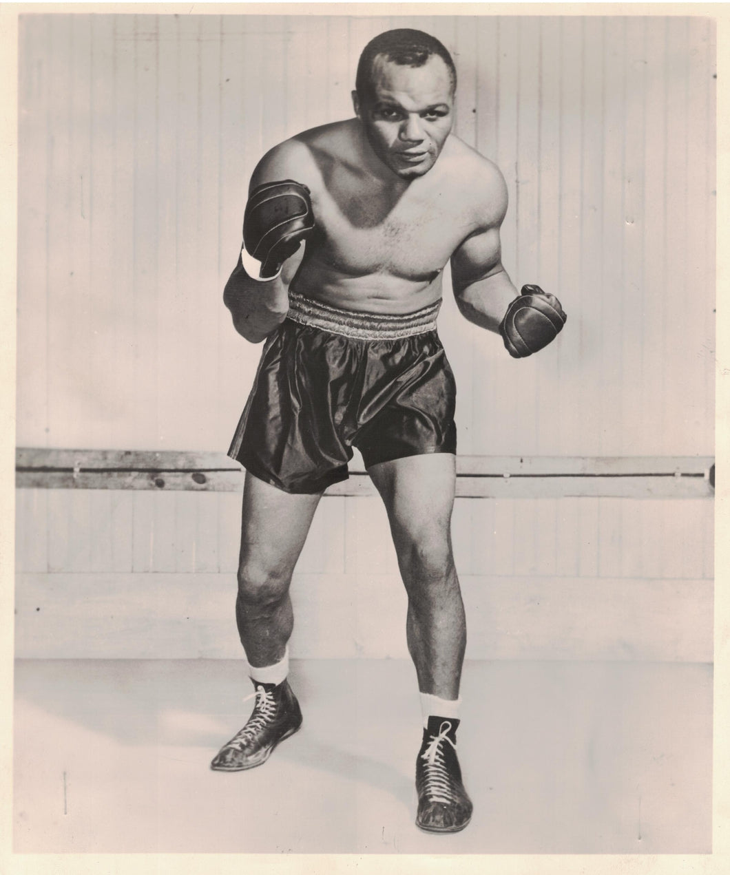 Old photograph of Jersey Joe Walcott boxing champion.