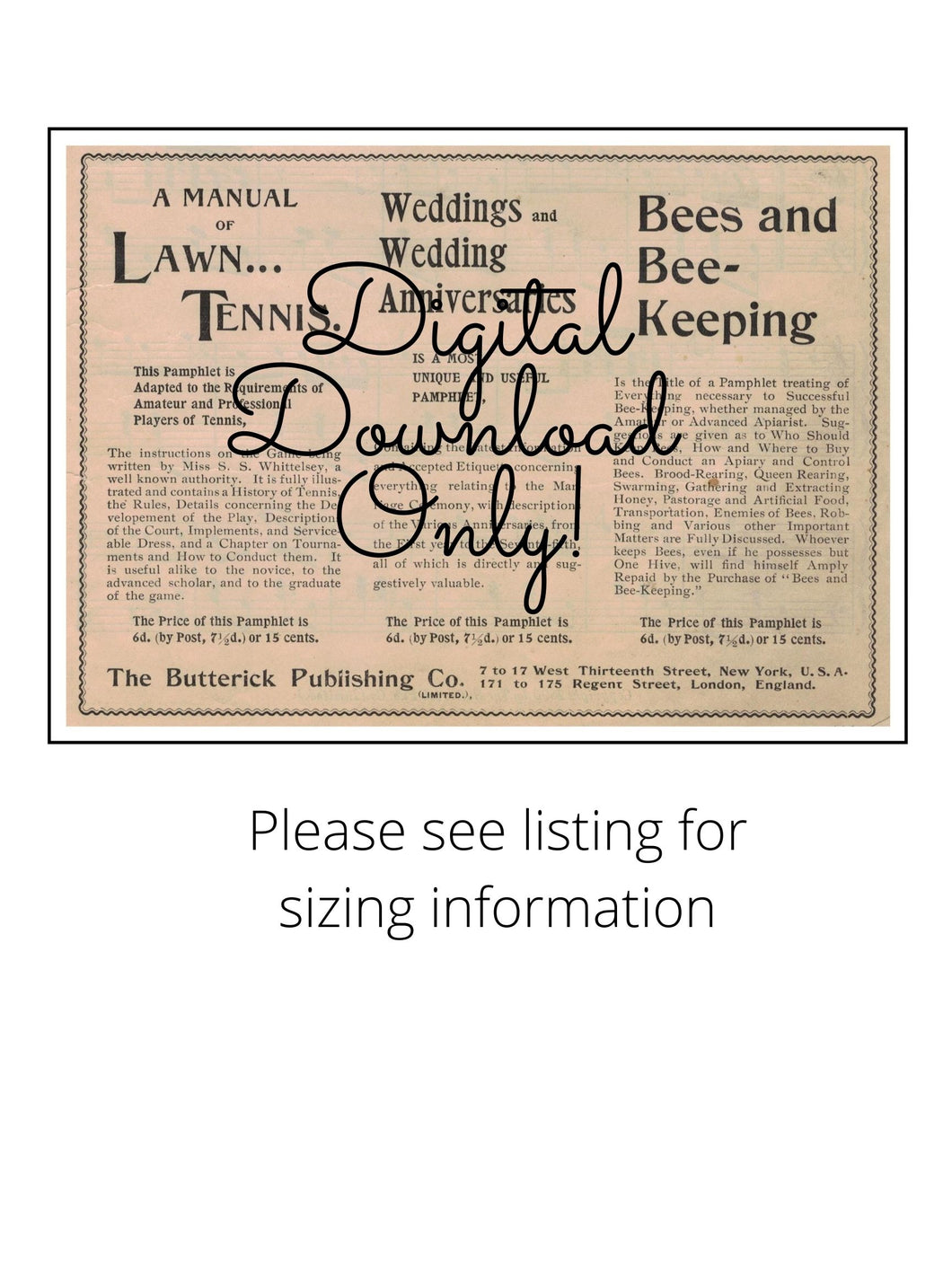 Antique Ad The Butterick Publishing Co. 1896 DIGITAL DOWNLOAD Image Instant Download Printable Art Poster Mail Order Advertisement