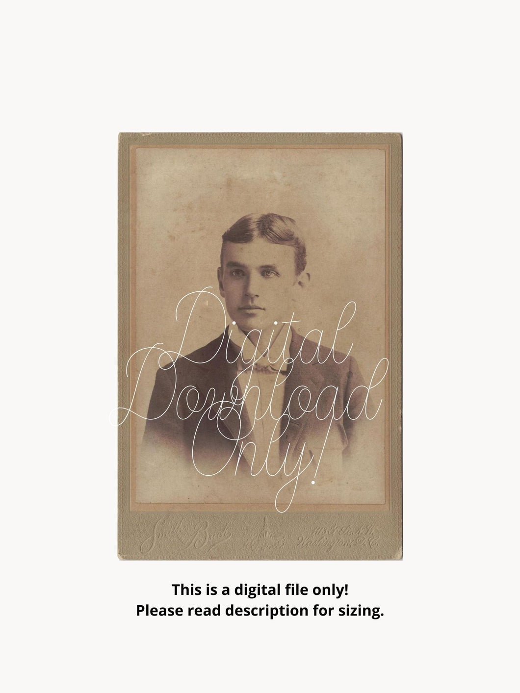 Antique Cabinet Card Photograph Handsome Young Man Taken In Washington, DC