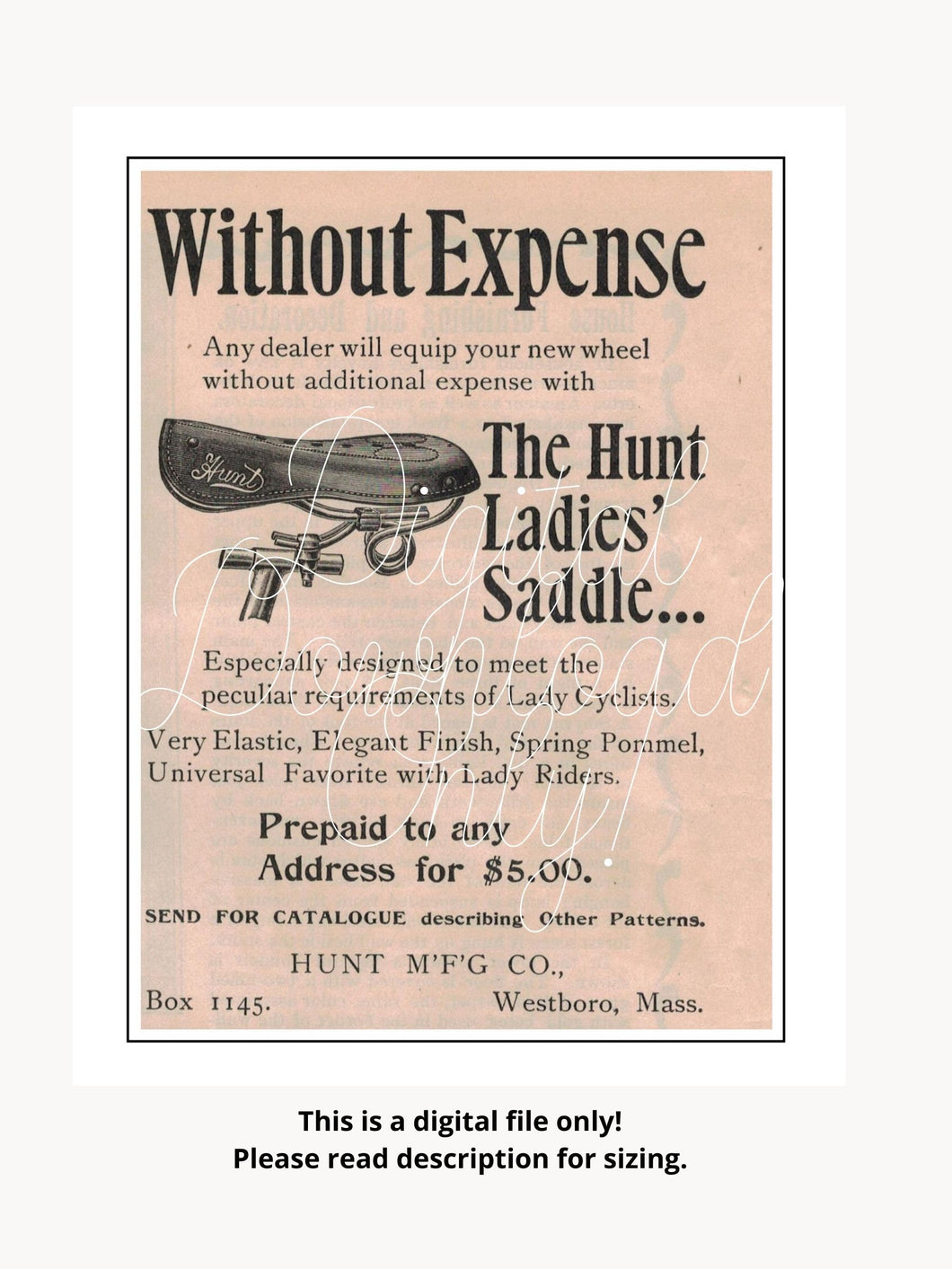 Hunt Manufacturing Co. 1896 Ad For The Hunt Ladies Saddle