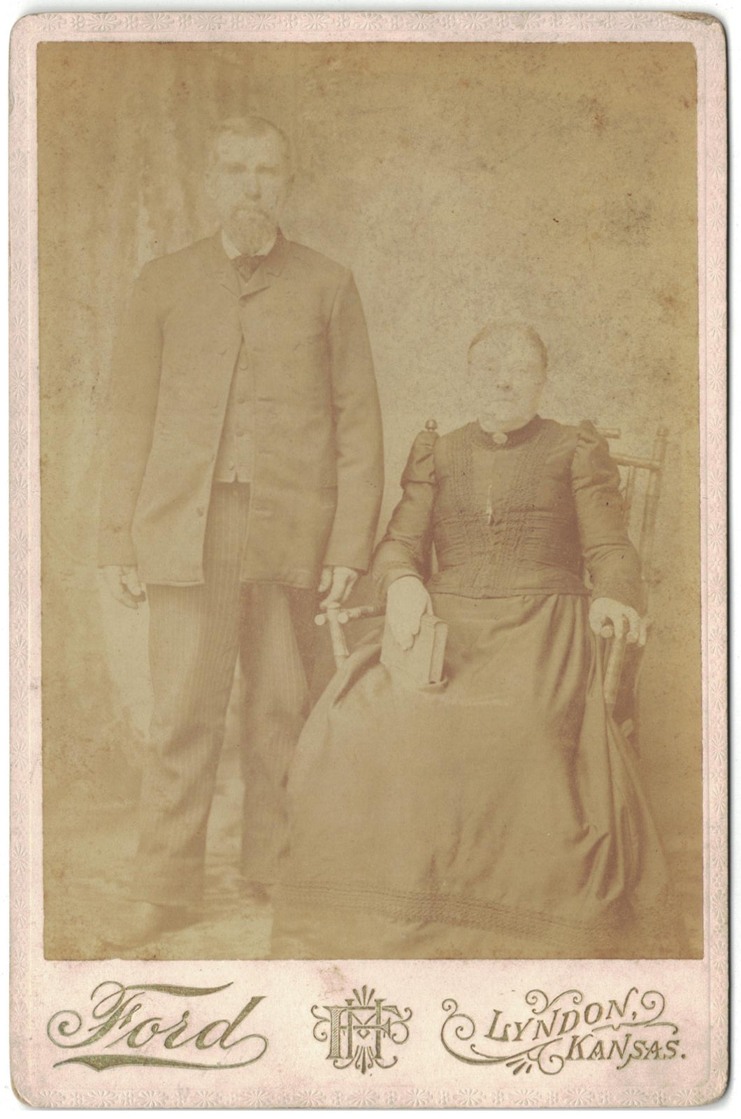 Antique Photograph Couple Woman Holding Bible Taken In Lyndon, Kansas.