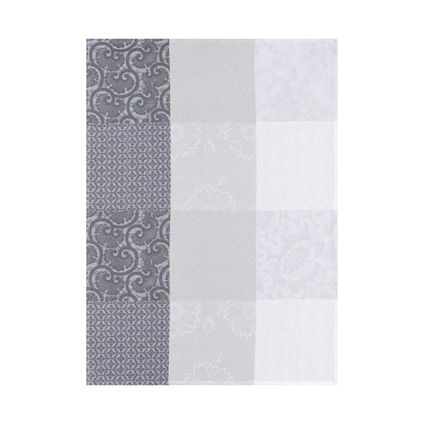 "French Tea Towel ""Kyoto Flowers in Grey"""