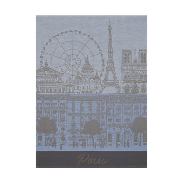 "French Tea Towel ""Paris Vista in Blue"""