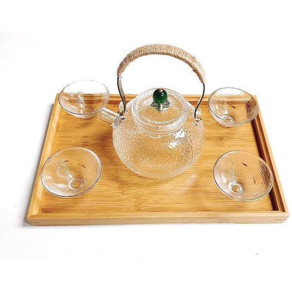 Tea Set in Pebbled Glass with Tray