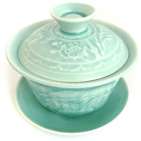 Gaiwan, Flower Pattern in Celadon, 6oz