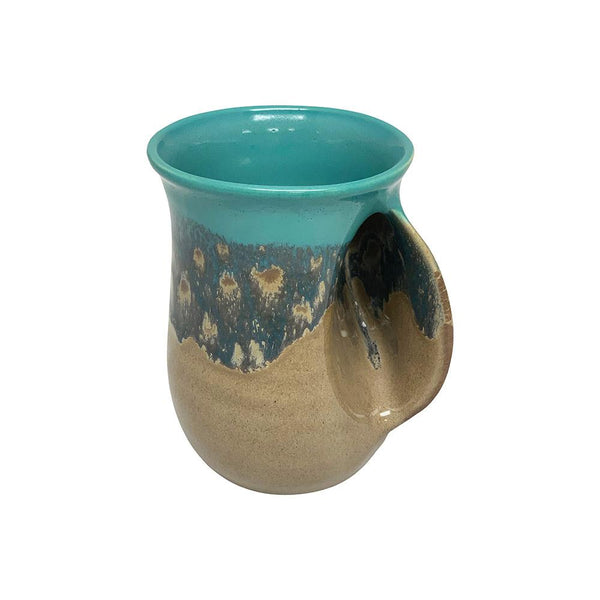 Hand-Hug Mug, Rt-Hand, Lt. Blue/Tan, 14oz