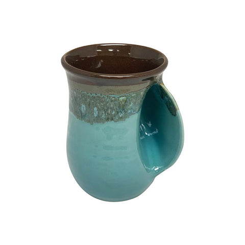 Hand-Hug Mug, Rt-Hand, Drk. Brown/Lt. Blue, 14oz -NEW!