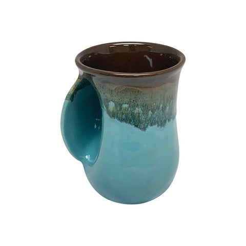 Hand-Hug Mug, Left-Hand, Drk. Brown/Lt. Blue, 14oz -NEW!