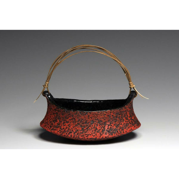 Hand-Made Red Stoneware Oblong Basket -NEW!