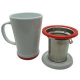 Mug+Infuser, White+Red, 14oz