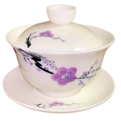Gaiwan, White Bone China Plum Flower, 5oz