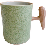 Mug, Textured Olive Green with Rustic Handle, 12oz