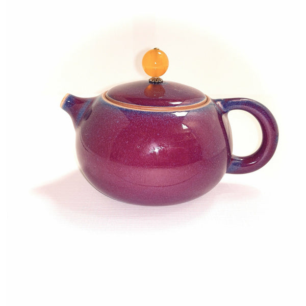 Teapot, Purple/Blue, Agate Finial, 6oz