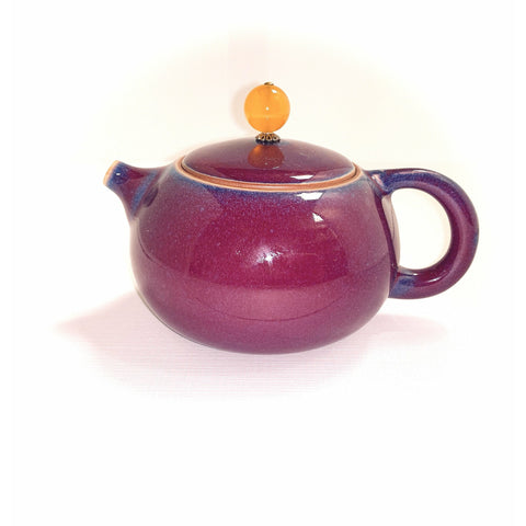 Teapot, Purple/Blue, Agate Finial, 6oz - NEW!