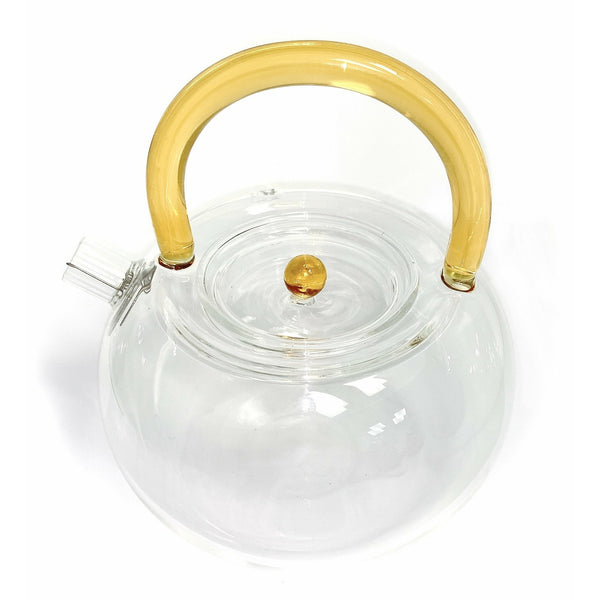 Teapot, Glass, Amber Handle, 24oz - NEW!